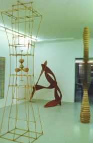 DIRK MARWIG 1996 (Hardwood+wooden pole construction(300cm x 75cm x 60cm), and 2 plywood constructions,Dirk Marwig, Nikolaus Fischer Gallery,Franfkfurt, Germany 1996)
