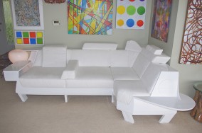 Angel Sofa  (L. : 300cm, H. : 76cm, D. : 108cm, fir + plywood with high gloss enamel and 17 fitted cushions , Dirk Marwig 2011)