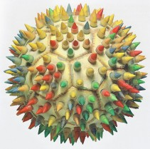 BEACH SOCCER BALL (Soccer ball-found on the beach-, silicone tubing with coloured and sharpened wooden pegs, 25cm x 25cm x 25cm, Dirk Marwig, Madrid 1997)