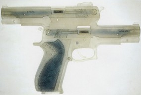 FLORIDA 135 SPECIAL GUN (Plexi-glass object with 2 bullets, 20cm x 29.5cm x 4.3cm, Dirk Marwig, Madrid 1998)
