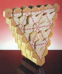 "MURRAY'S(GELL-MANN) WORLD – ""Quark Model""  (Wooden dowels,glue,rubber bands,oil stick,47cm x 56cmx x26cm, Dirk Marwig 1998, Madrid)"
