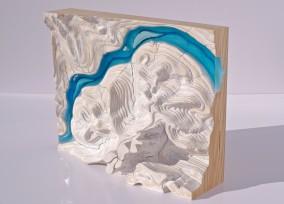 RANDOM EROSION Winter (Plywood, resin and oil, 29cm x 36.3cm x 14cm, Dirk Marwig 2012)