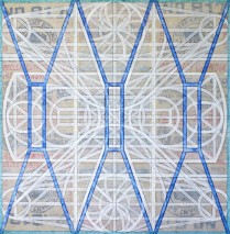 TRANSPARENT MECHANISM  (Oil on 3 primed burlap rice sacks, 65.6cm x 64.3cm, Dirk Marwig 2008)