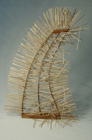 Fragile,Faulty,Failing,Falling SYSTEM (Zebrawood,Plywood and 460 wood dowels,83cm x 58cm x 35cm,Dirk Marwig 2013)