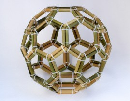 "Bucky-Ball C-60 Molecule Regular (Bamboo and ""Zap-Strap"" construction, 43.5cm x 43.5cm x 43.5cm, Dirk Marwig 2013)"