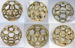 "Bucky-Ball C-60 Molecule Regular -Various Angles- (Bamboo and ""Zap-Strap"" construction, 43.5cm x 43.5cm x 43.5cm, Dirk Marwig 2013)"