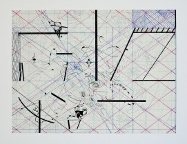 Lift Geometry (Archival ink + oil on Japan -paper, 24 cm x 32 cm, Dirk Marwig 2013)