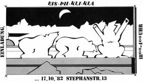 "Flyer for the ""Ice-Bear"" or ""Klapse"" club in Frankfurt-October 1982 (Ink on cardboard, Dirk Marwig 1982)"