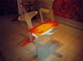FLOW LIGHT OBJECT with Stand (Plexi-Glass construction, Dirk Marwig 1997)