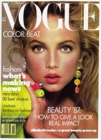 Cover of Vogue U.S. October 1987  Richard Avedon(Photo), Dirk Marwig(Rings), Rachel Williams(Model)