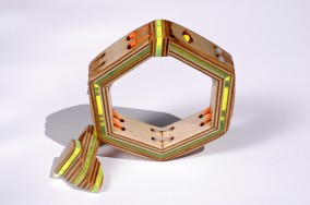 "Margareta's Birthday Bracelet and Ring  (Plywood, Plexi-glass and Cable Tie ""Jewelry"", Dirk Marwig 2014)"