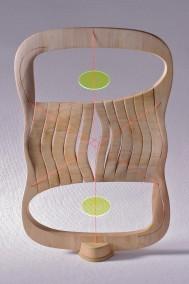 Time = Energy Model (Falsecypress, plywood, plexi-glass and waxed string, 70.5cm x 45cm x 10.5cm, Dirk Marwig 2014)