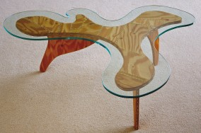 Moose Coffee Table (Plywood, tennis string and glass, 32cm x 104cm x 86cm,  Dirk Marwig 2008)