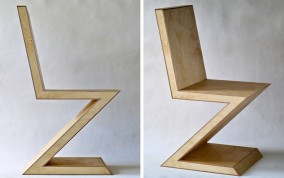 Rietvelt Zig Zag Chair Dirk Marwig Version No.7 (High density plywood, maple, wood glue and wood oil, 90cmcm x 43.5cm x 59.5cm, Dirk Marwig 2015)