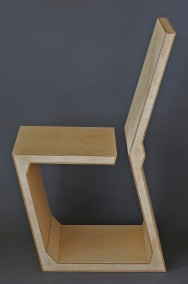 "Dirk Marwig ""GAP CHAIR"" 2015 (High density plywood, wood glue and wood oil, 92.5cm x 42.8cm x 59cm, Dirk Marwig 2015)"