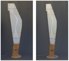 Anisotropic (Plywood and plexiglass construction with LED lights, cable ties and remote ctrl., 182.5cm x 49cm x 4cm (base: 36cm x 41cm) Dirk Marwig 2016)