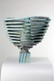 Dirk Marwig's New World Cup (Cedar wood construction with turquoise oil wash, 33.5cm x 37cm x 37cm, Dirk Marwig 2016)