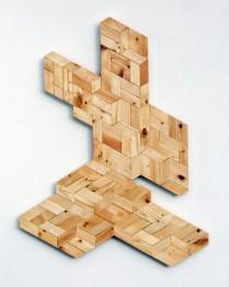 Box Boy (Wall object-116 pieces of fir wood, 97cm x 72.8cm x 3.5cm, Dirk Marwig 2017)