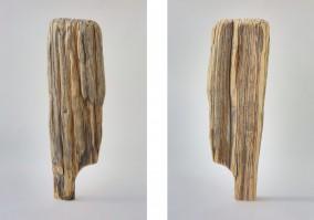Modern Man (Aged yellow cedar with oil wash, 95cm x 29cm x 13cm, Dirk Marwig 2017)