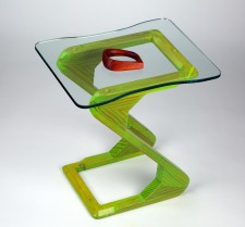 Z-Hop coffee table (Aged and stained fir with custom cut glass top, 46.5cm height x 43.3cm length x 32cm depth, Dirk Marwig 2009)