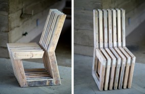 "Dirk Marwig's ""Gap-Chair"" No.5 (Reclaimed scaffolding wood with white oil wash and wood glue, 92cm high,  40cm wide, 74.5cm deep; seat height: 46.5cm, seat depth: 44cm, Dirk Marwig 2017)"