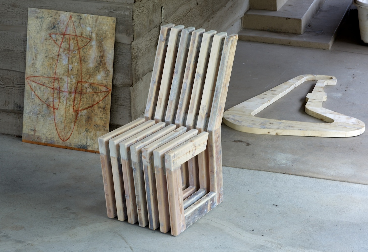 Gap-Chair No.5 with Zomb drawing and unfinished wall object copy